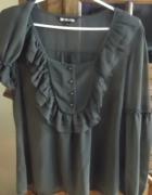 Bluzka mgiełka khaki z żabotem XL...