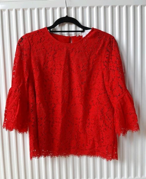 Nowa czerwona koronkowa bluzka h&m S...