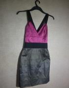 Szaro różowa sukienka z gumkowymi ramiączkami 36...