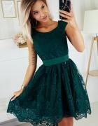 Piękna asymetryczna koronkowa sukienka XS SM L XL ZIELONA...