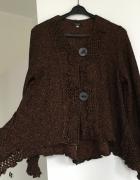 Sweter rozpinany na guziki krótki rozmiar M 38 pomarańczowo cza...