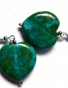 Chryzokola zielona serduszka kolczyki srebro...