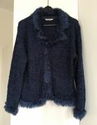 Granatowy sweter rozpinany S M...