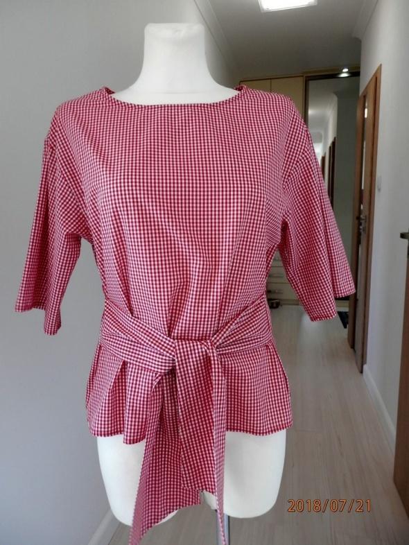 Bluzka Koszula Kratka Vichy Pudełkowa Modne Wiązanie Pin Up M...