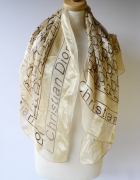Chustka Apaszka 100x100 cm Christian Dior Zlota Beżowa Szal...