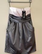 Nowa sukienka mini bez ramiączek pudrowy róż szary XS New Yorke...