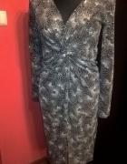 Sukienka imprezowa czarna ze srebrnymi zdobieniami