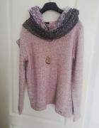Damski sweter melanż różowy MONNARI L...