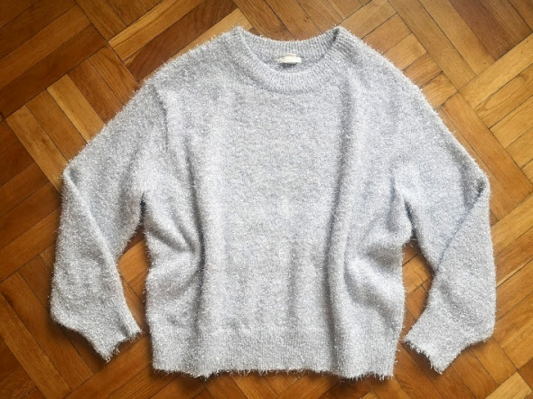 H&M srebrny metaliczny sweter oversize L 40...