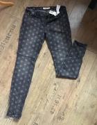 Jeansy spodnie 40 L w gwiazdki szare New Yorker...