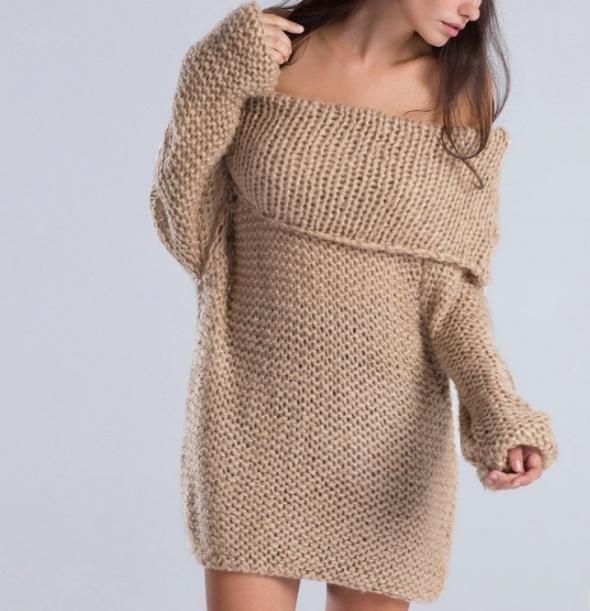 Oversize ciepły sweter karmel tunika