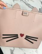 Oryginalna duża torba Karl Lagerfeld różowa jak nowa A4...