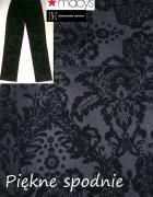 Piękne czarne spodnie aksamitny wzór cygaretki