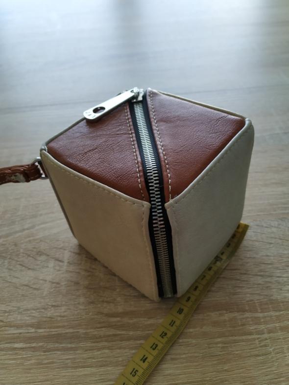 oryginalna brązowa beżowa torebka