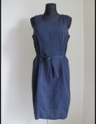 granatowa sukienka biurowa prosta klasyczna 40 L...