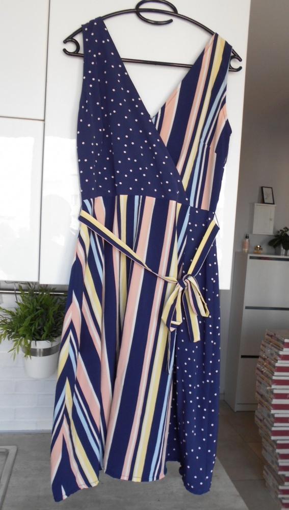 George sukienka kopertowa paski kropki...