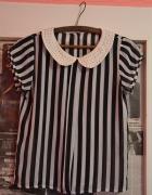 Przewiewne bluzeczka w biało czarne pasy