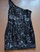 Czarna cekinowa sukienka imprezowa studniówkowa