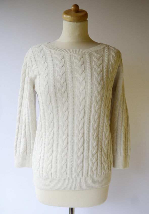 Sweter H&M Basic M 38 Warkocze Kremowy Warkocz Alpaka...