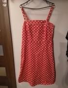Czerwona sukienka w białe groszki pin up retro vintage...