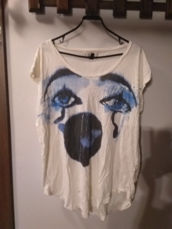 Zwiewna asymetryczna bluzka z klaunem rozmiar M oversize...