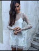 Zara tiulowa błyszcząca sukienka brokatowa z motywem koronkowym...