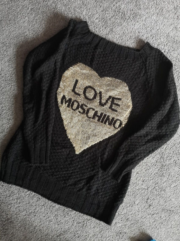 Czarny Sweter love moschino