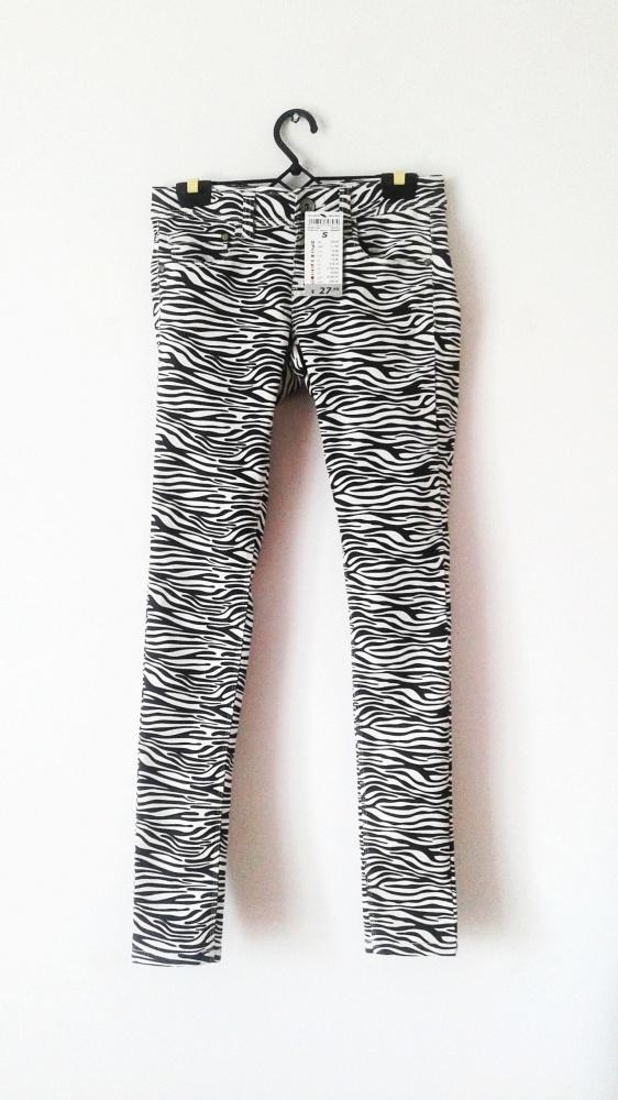NOWE spodnie w zebrę czarno białe rurki rock blog...