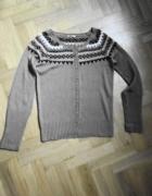 Nowy piękny sweter 40 Reserved wełna norweski wzór...