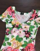Sukienka H&M róże kwiaty garden collection tuba bratki 34 XS