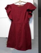 Vubu sukienka bordowa falbanki...