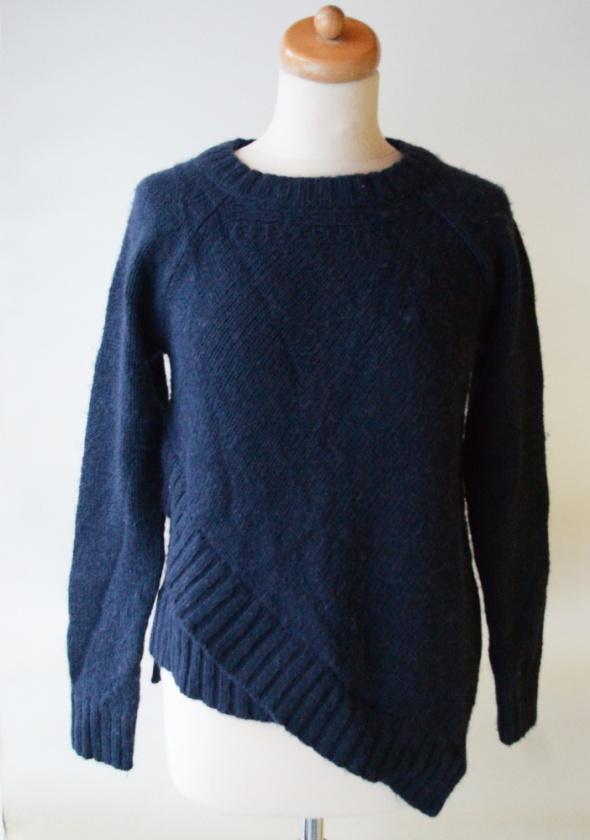 Sweter Granatowy Asymetryczny Mango M 38 Zimowy...