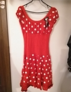 Czerwona sukienka w białe groszki retro pin up rozmiar M...