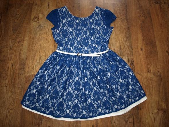 Suknie i sukienki Niebieska koronkowa 40 42