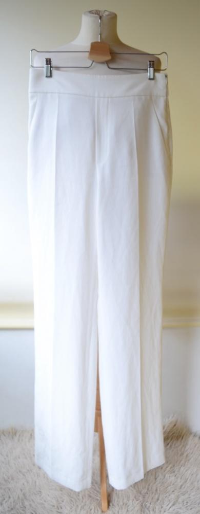 Spodnie Zara Woman Białe Proste Nogawki M 38 Wizytowe...