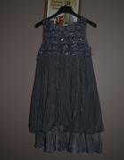 Wójcik Sukienka melanżowa szara cekiny 8 9 lat 10 lat ciepła