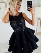 Piękna piankowa sukienka falbany XS SM L kolory czarna...