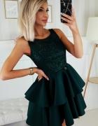 Piękna piankowa sukienka falbany XS SM L kolory zielona...