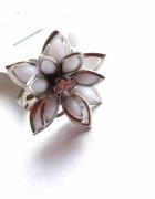 pierścionek biały srebrny kwiat kwiatek cyrkonia...