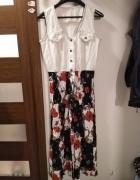 Długa sukienka w kwiaty maxi zapinana na guziki retro vintage...