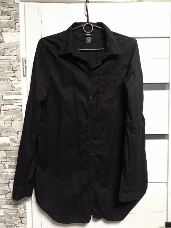 Czarna długa koszula z kieszonką H&M...