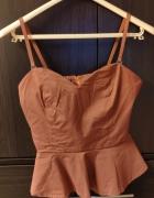 Pomarańczowa bluzka elegancka z baskinką na ramiączka rozm 36 S...