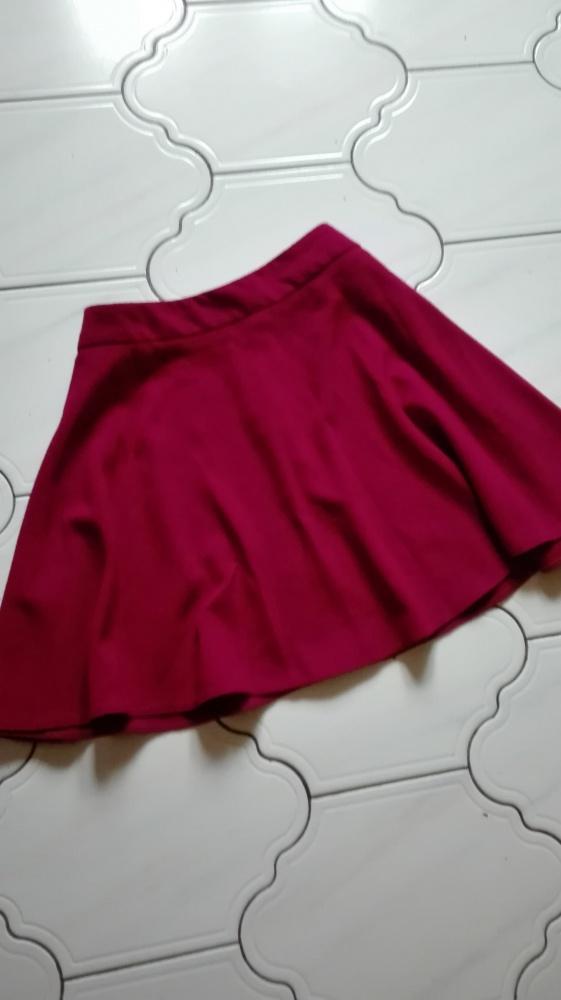 Burgundowa bordowa rozkloszowana spodnica...