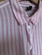 Koszula letnia paski H&m różowy biały 38 M jak lniana Divided l...