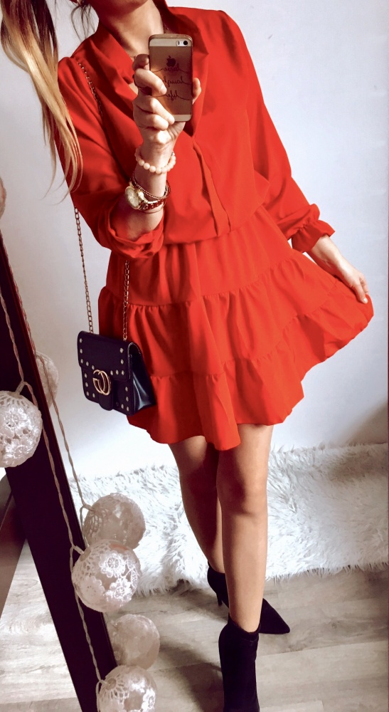 Sukienka Damska czerwona rozkloszowana M