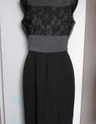 Elegancka czarno popielata sukienka z koronką...