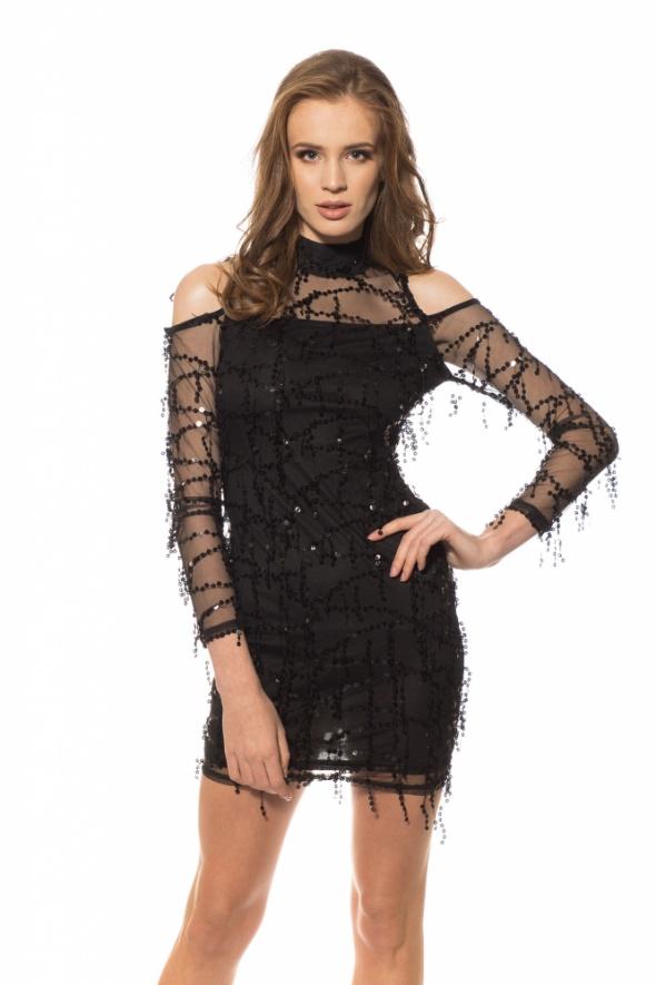 Sukienka mini AxParis Tessy Off Shoulder Black 42
