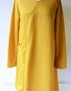 Sukienla XL 42 Anself Musztardowa Oversize Elegancka Żółta...
