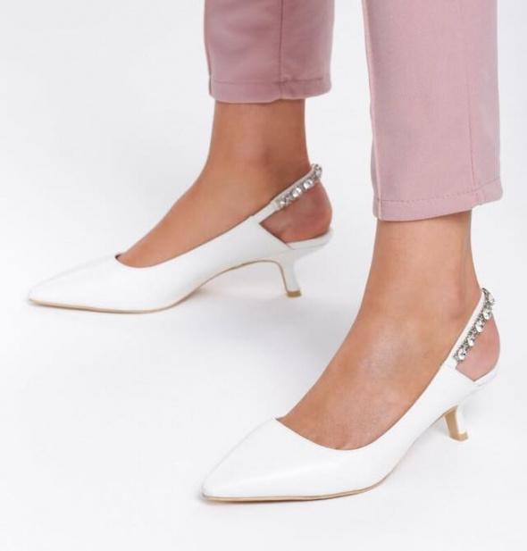 Buty ślubne czółenka niskie cyrkonie 36