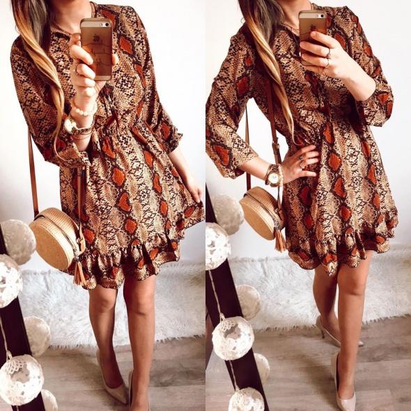 Sukienka Damska wzorzysta rozkloszowana M
